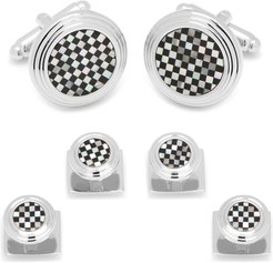 Checkered Onyx & Mother-of-Pearl Cuff Links & Studs Set