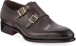 Ira Leather Double-Monk Loafers