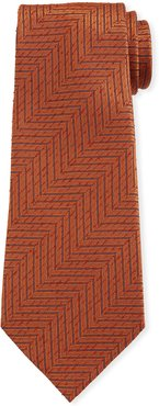 Large Chevron Silk Tie, Rust