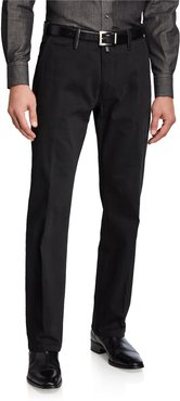 Casual Cotton Trousers with Leather Detail