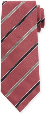Contemporary Rep Striped Silk Tie, Pink