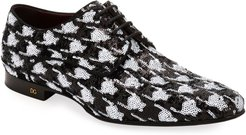 Two-Tone Patterned Sequin Derby Shoes