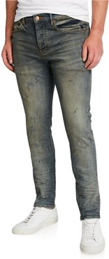 Ripped-Knee Slim Jeans with Raw Edges