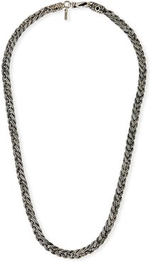 Woven Foxtail Chain Necklace, Silver