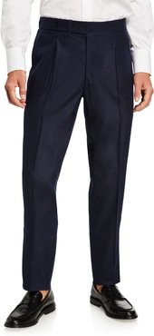 Pleated-Front Classic Flannel Pants