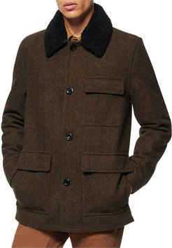 Novelty Wool Chore Coat w/ Removable Faux-Shearling Collar