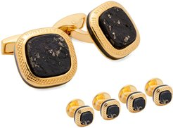 Slate Pyrite Yellow Gold-Plated Cuff Links and Stud Set
