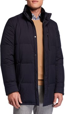 Water-Repellant Quilted Jacket w/ Fur Trim