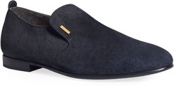 Engine Turn Suede Loafers with Brass Detail