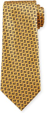 Small Rectangles Silk Tie, Yellow