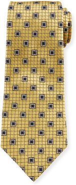 Framed Squares Silk Tie, Yellow