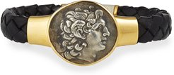 Ancient Alexander The Great Coin Braided Leather Bracelet