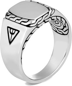 Classic Chain Carved Silver Signet Ring, Size 9-13