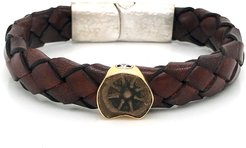 Ancient Charity Coin Braided Leather Bracelet