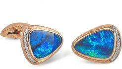 18K Rose Gold Opal Doublet Cufflinks w/ Diamonds