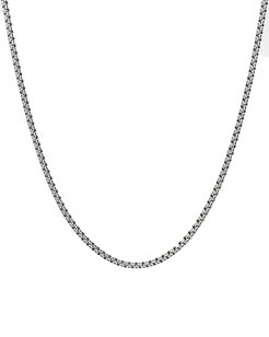 Small Silver Double Box Chain Necklace, 22""