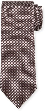 Lattice-Print Silk Tie, Brown