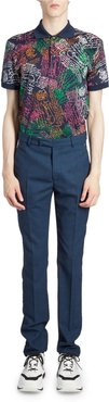 Wool-Blend Jacquard Tapered Suit Pants