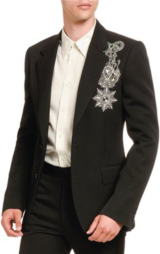 Jeweled Military Emblem Two-Button Jacket