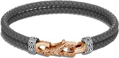 Asli Classic Chain Woven Leather Bracelet with Bronze Clasp, Size M-L