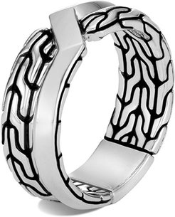 Asli Classic Chain Link Silver Band Ring, Size 9-10
