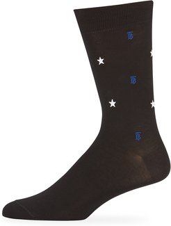 Star TB Embroidered Socks