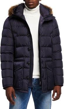 Cluny Quilted Puffer Jacket w/ Fur Trim