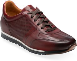 Burnished Leather Trainer Sneakers