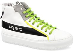 Neon Suede & Leather High-Top Sneakers