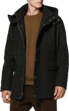 Newport Hooded Stretch Wool Coat w/ Removable Shearling