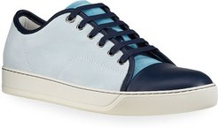 Colorblock Suede-Leather Low-Top Sneakers