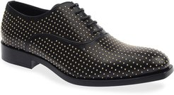 Studded Calf Leather Oxfords