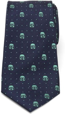 The Mandalorian Helmet Dotted Silk Tie