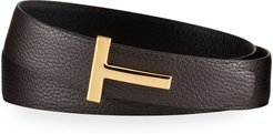 Leather T-Buckle Belt