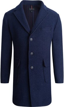 Solid Knit Three-Button Long Jacket