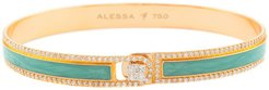 Spectrum Painted 18k Rose Gold Bangle w/ Diamonds, Teal, Size 18