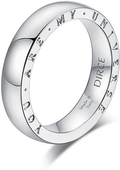 "Dirce ""You Are My Universe"" 18k White Gold 4.3mm Band Ring, Size 6.25"