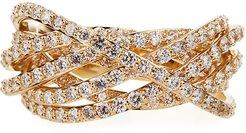 14k Flawless Diamond Crossover Ring, Size 7