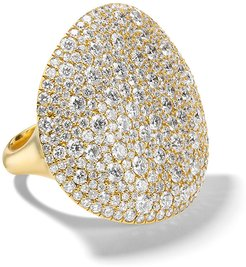 Large Stardust East-West Oval Dome Ring in 18K Gold with Diamonds, Size 7