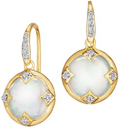 18k Mother-of-Pearl Chakra Earrings with Diamonds