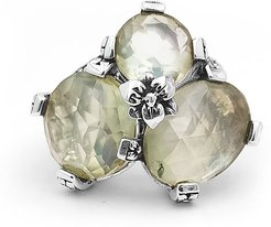 Green Amethyst/Mother-of-Pearl Three-Stone Ring