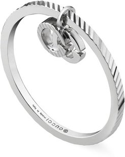 18k White Gold Running G Ring with Charm, Size 6.25