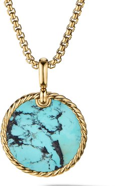 DY Elements Small Cable Disc Amulet in 18K Yellow Gold with Turquoise