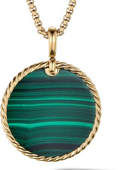 DY Elements Disc Pendant in 18K Yellow Gold with Malachite