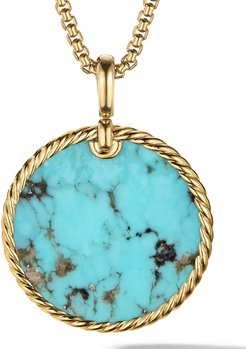 DY Elements Disc Pendant in 18K Yellow Gold with Turquoise