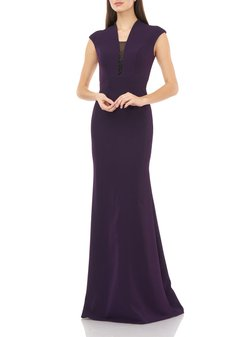 V-Neck Cap-Sleeve Crepe Gown w/ Beaded Inset Illusion