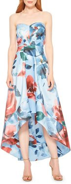 Clara Floral Strapless High-Low Midi Dress