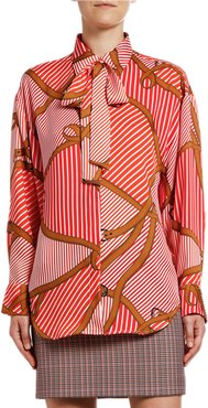 Camicia Striped Saddle-Print Tie-Neck Shirt