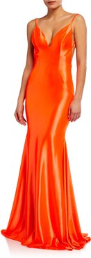 Fluid Slip Gown with Shirred Back Detail