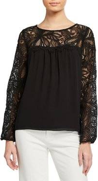 Keegan Long-Sleeve Lace-Yoke Top